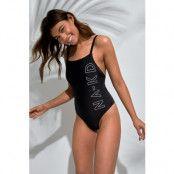 NA-KD Swimwear Logo Printed Swimsuit - Black