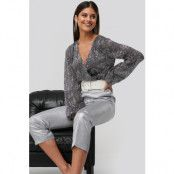 NA-KD Party Sequin Balloon Sleeve Body - Grey